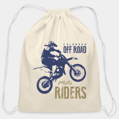 motorcycle off road rider biker - Cotton Drawstring Bag