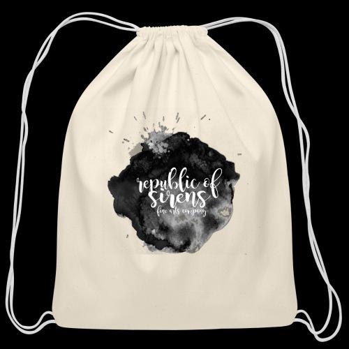 ROS FINE ARTS COMPANY - Black Aqua - Cotton Drawstring Bag
