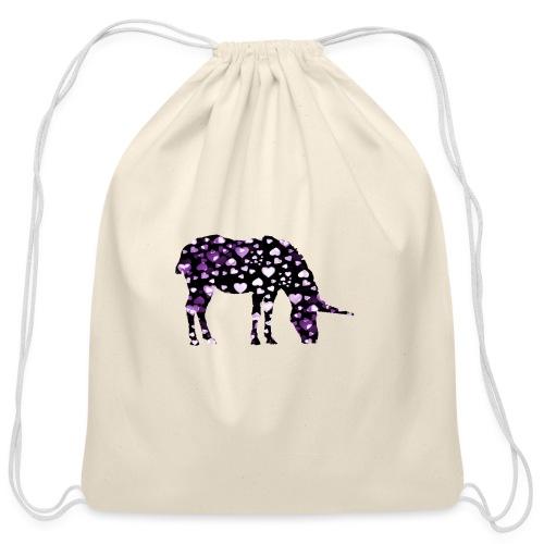 Unicorn Hearts purple - Cotton Drawstring Bag