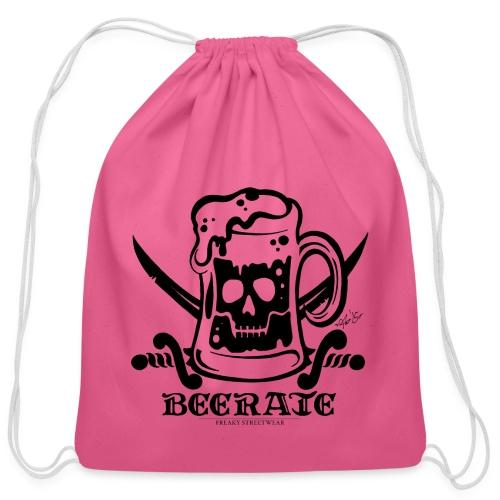 Beerate - black - Cotton Drawstring Bag