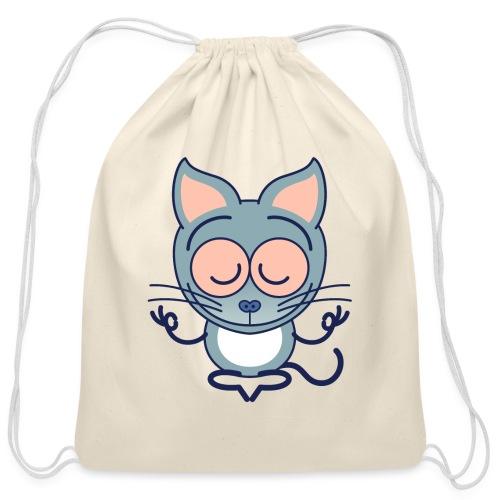 Gray cat meditating in joyful mood - Cotton Drawstring Bag