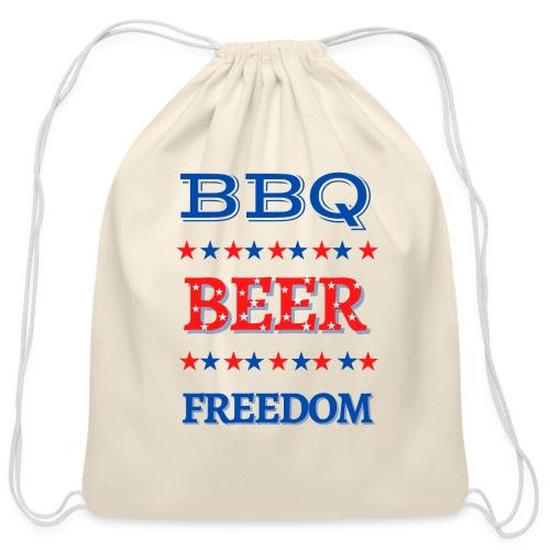 BBQ BEER FREEDOM - Cotton Drawstring Bag