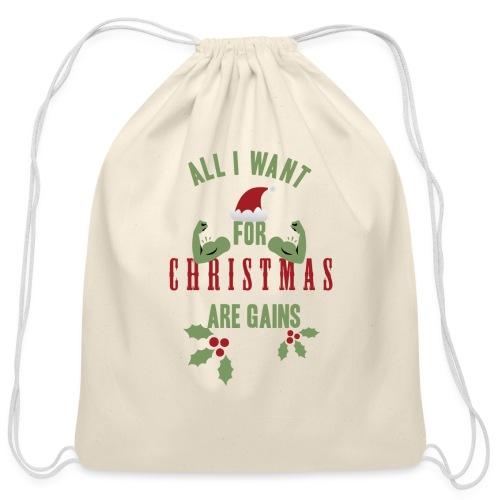 All i want for christmas - Cotton Drawstring Bag