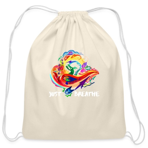 Just Breathe (White Words) - Cotton Drawstring Bag