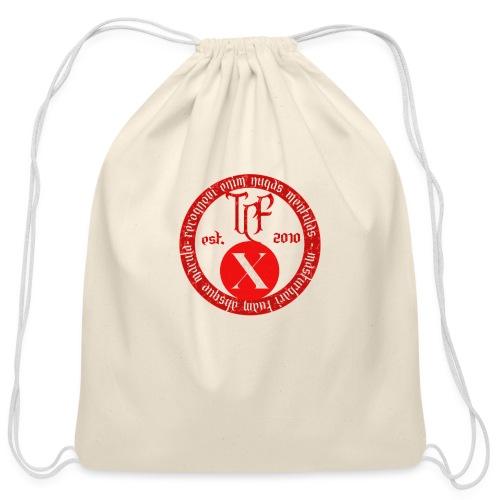 10th Anniversary Medallion - Red Marble - Cotton Drawstring Bag