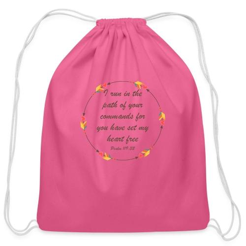 Psalm 119 32 - Cotton Drawstring Bag
