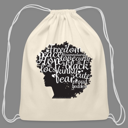 Afro Text II - Cotton Drawstring Bag