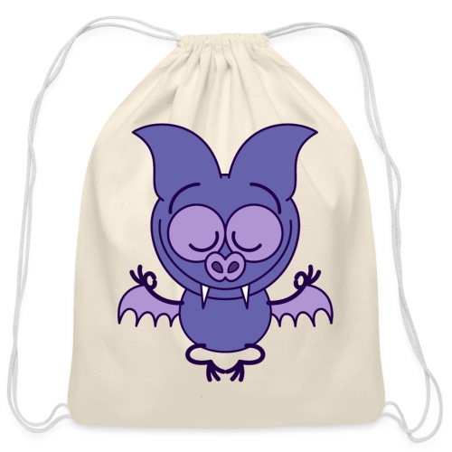 Purple bat meditating in joyful mood - Cotton Drawstring Bag