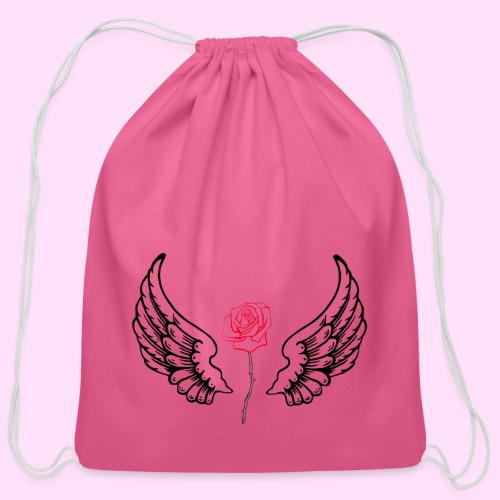 rose flight - Cotton Drawstring Bag