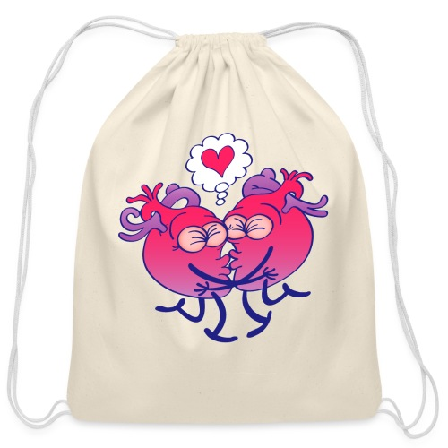 Couple of hearts in love kissing passionately - Cotton Drawstring Bag