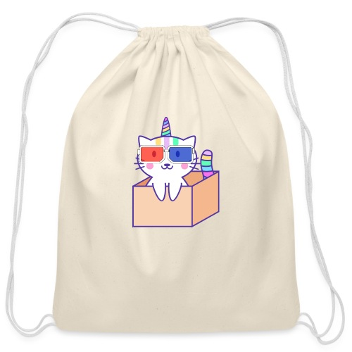 Unicorn cat with 3D glasses doing Vision Therapy! - Cotton Drawstring Bag
