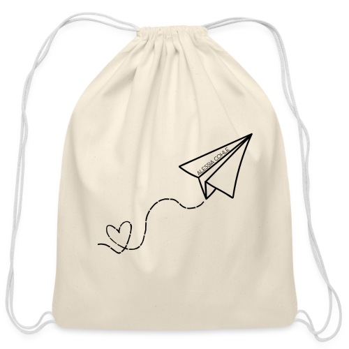 Travel - Paper Plane w/ Heart (black) - Cotton Drawstring Bag