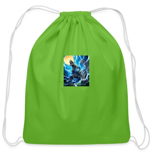 Blue lighting dragom - Cotton Drawstring Bag