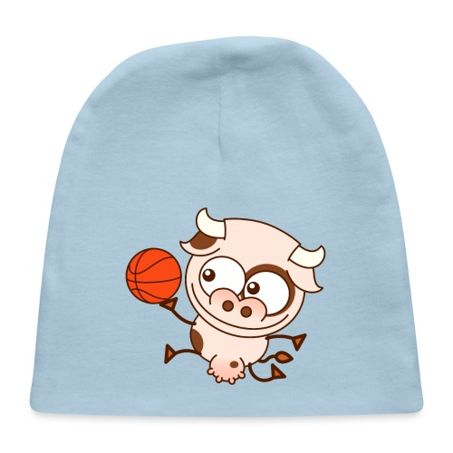 Cute cow playing basketball performs layup shot - Baby Cap