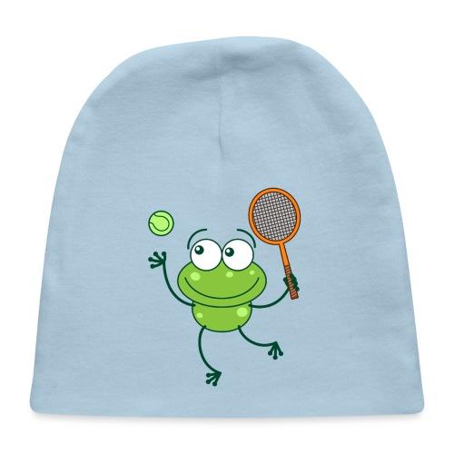 Cute frog preparing a serve shot in a tennis match - Baby Cap