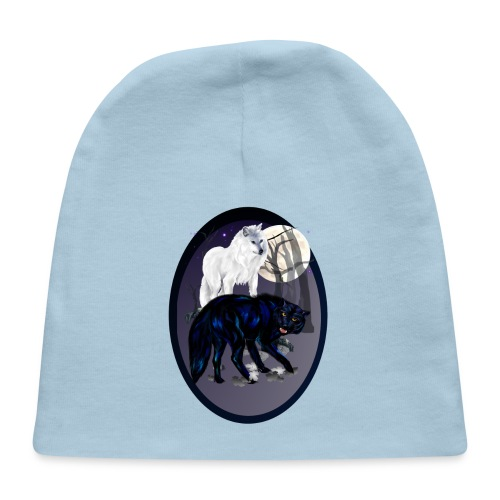 Two Wolves-oval - Baby Cap