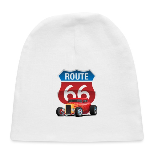 Route 66 Sign with Classic American Red Hotrod - Baby Cap