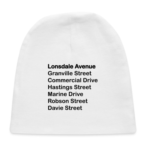 Street Names Black Text - Baby Cap