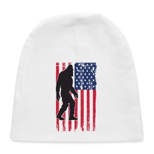 Bigfoot Yeti Sasquatch American Flag - Baby Cap