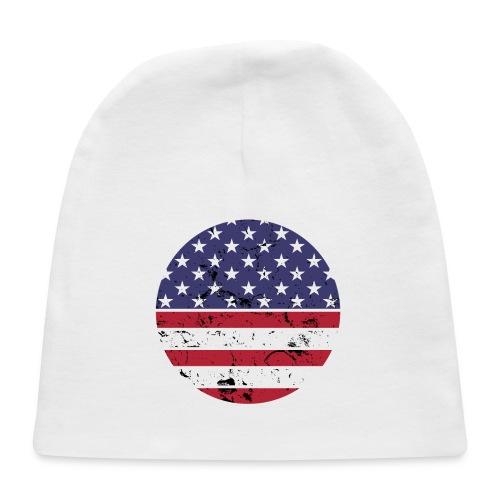 American flag full circle red white blue - Baby Cap
