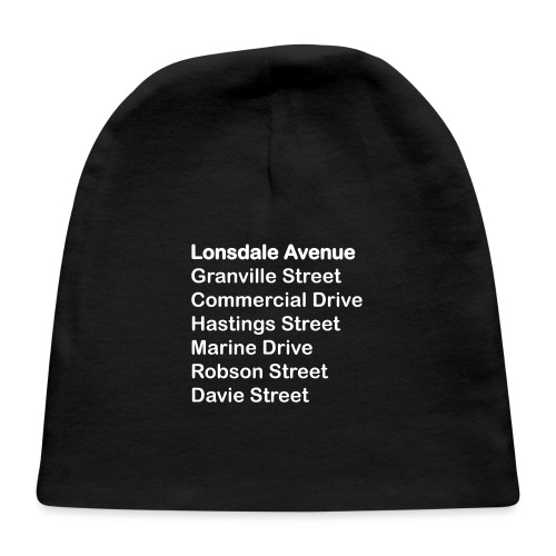 Street Names White Text - Baby Cap