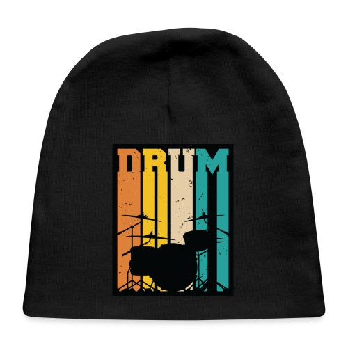 Retro Drum Set Silhouette Illustration - Baby Cap