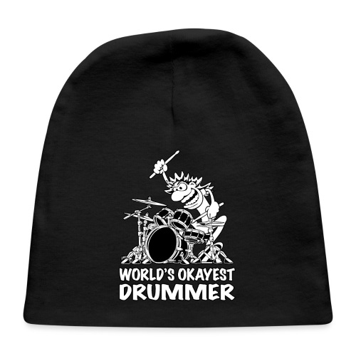 World's Okayest Drummer Cartoon Illustration - Baby Cap