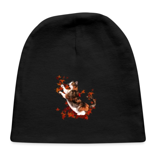Autumn Cat - cat playing with autumn leaves - Baby Cap