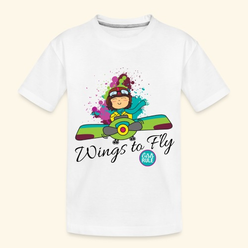 Girl aviator flying an old plane - Toddler Premium Organic T-Shirt