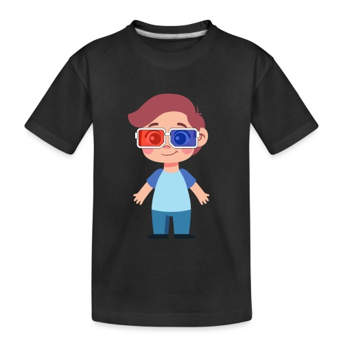 Boy with eye 3D glasses - Toddler Premium Organic T-Shirt