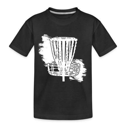 Disc Golf Basket White Print - Toddler Premium Organic T-Shirt