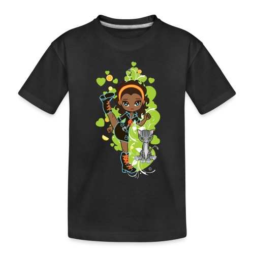 Aisha the African American Chibi Girl - Toddler Premium Organic T-Shirt