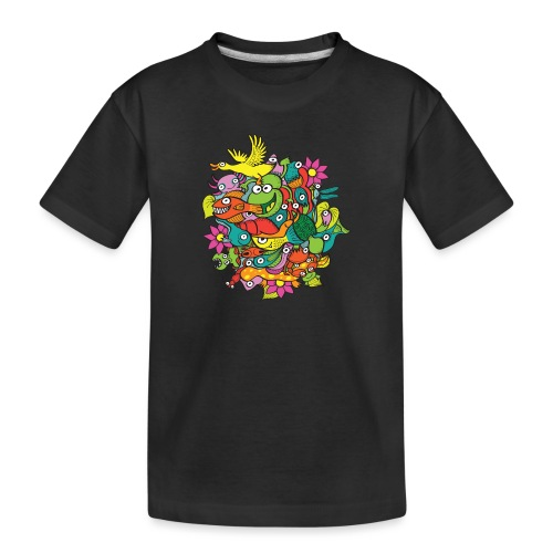 Amazing crowd of funny creatures living in a pond - Toddler Premium Organic T-Shirt