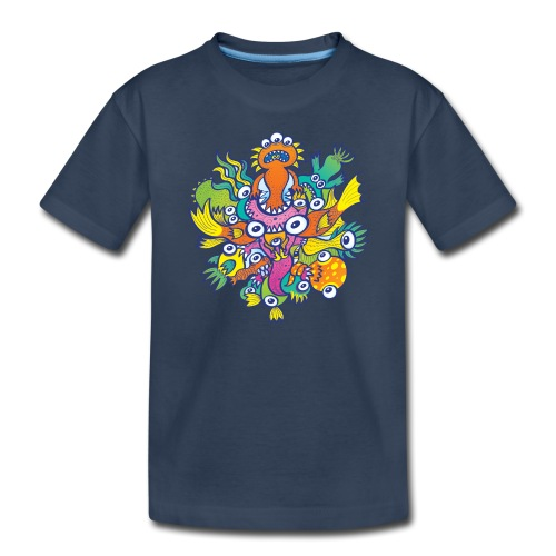 Don't let this evil monster gobble our friend - Toddler Premium Organic T-Shirt