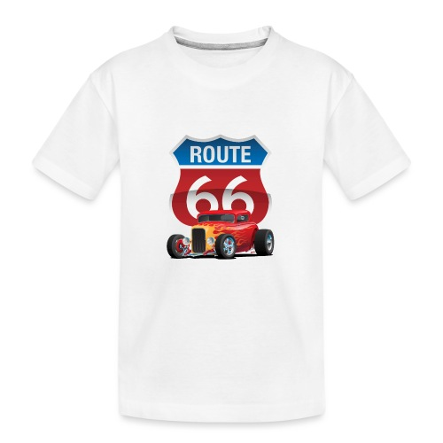 Route 66 Sign with Classic American Red Hotrod - Kid's Premium Organic T-Shirt