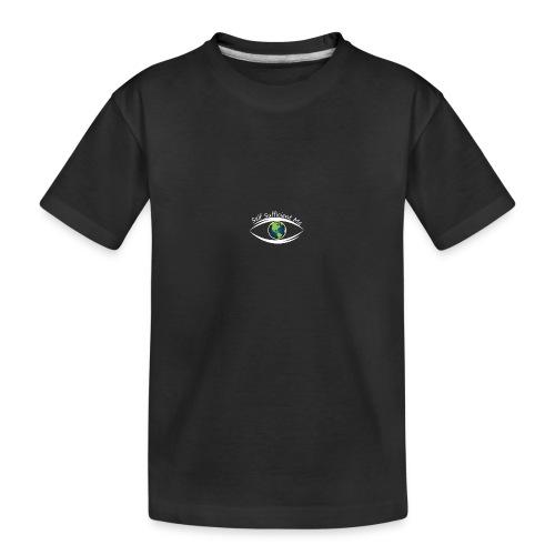 Self Sufficient Me Logo white small coy design - Kid's Premium Organic T-Shirt