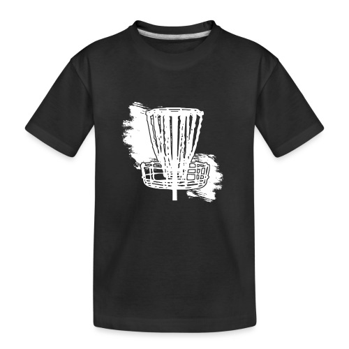 Disc Golf Basket White Print - Kid's Premium Organic T-Shirt
