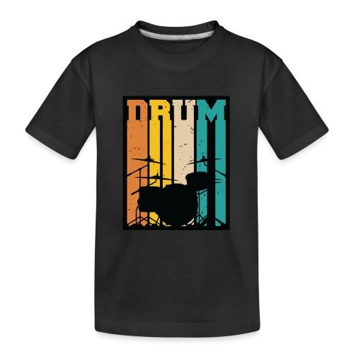 Retro Drum Set Silhouette Illustration - Kid's Premium Organic T-Shirt