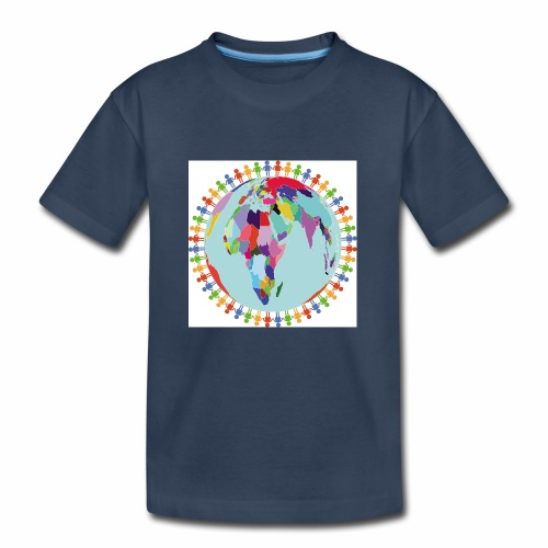 Community Group/Earth Globe/Earth Day/ Human Frame - Kid's Premium Organic T-Shirt