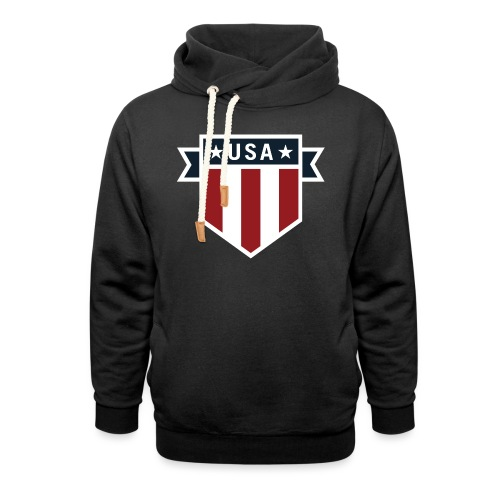 USA Pride Red White and Blue Patriotic Shield - Unisex Shawl Collar Hoodie