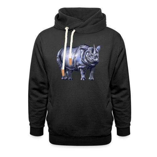 One horned rhino - Unisex Shawl Collar Hoodie