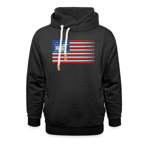 American Drummer Flag with Drum Kit and Sticks - Shawl Collar Hoodie