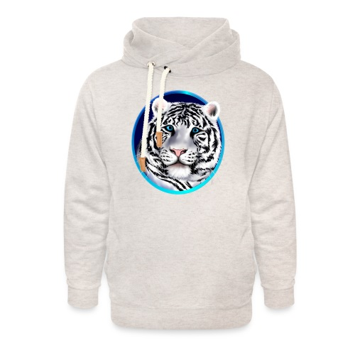 Framed White Tiger Face - Unisex Shawl Collar Hoodie