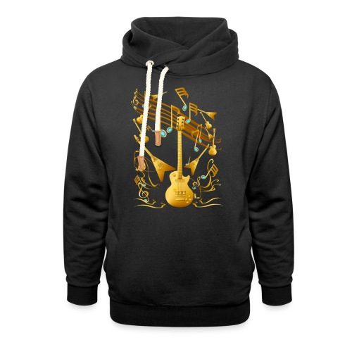Gold Guitar Party - Unisex Shawl Collar Hoodie