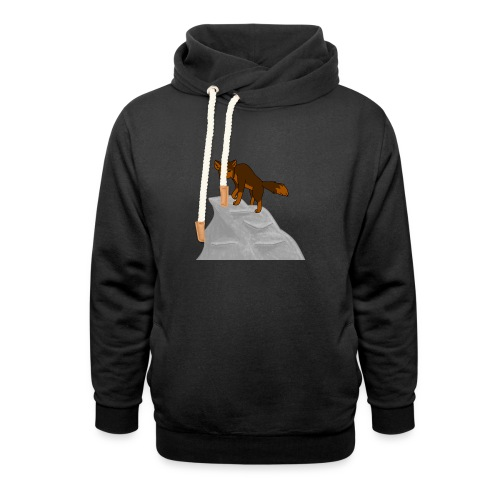 Wolf looking down on Boulder - Shawl Collar Hoodie