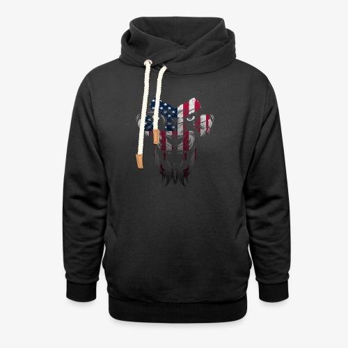 American Flag Lion Shirt - Unisex Shawl Collar Hoodie