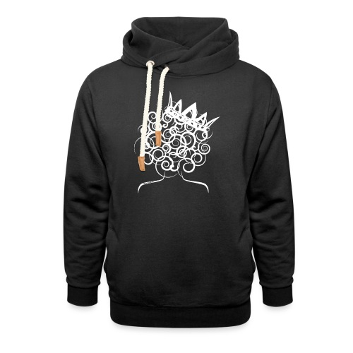 Curly Queen with Crown_ GlobalCouture Women's T-Sh - Shawl Collar Hoodie