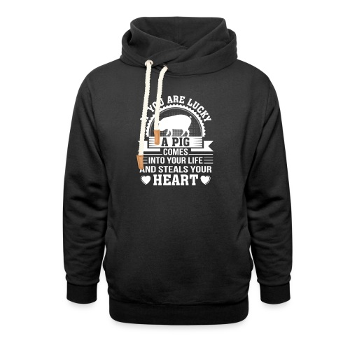 Mini Pig Comes Your Life Steals Heart - Shawl Collar Hoodie