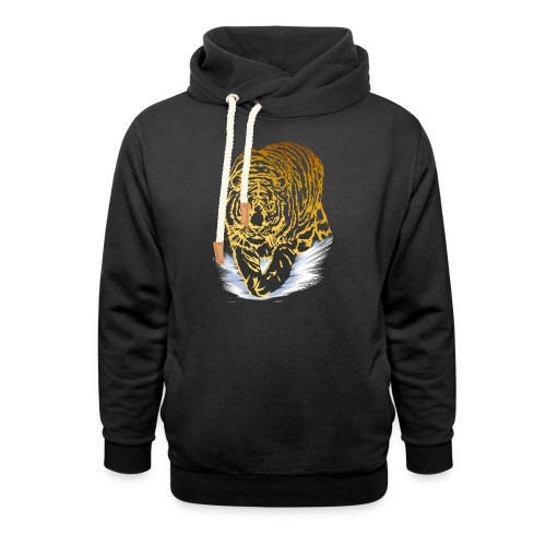 Golden Snow Tiger - Unisex Shawl Collar Hoodie