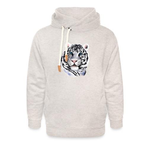 White Tiger Face - Unisex Shawl Collar Hoodie